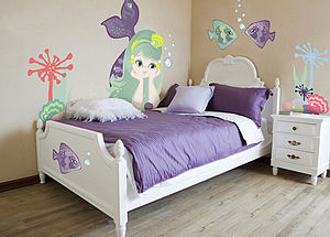 Mermaid Fabric Wall Stickers - decorative accessories