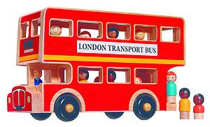 Natural Wood London Bus - gifts for children