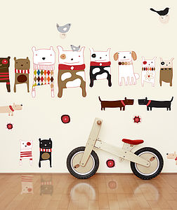 Dogs Fabric Wall Stickers - children's room accessories