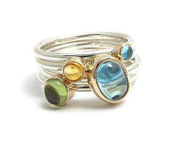 Sterling Silver 9ct Gold And Gemstone Stacking Rings