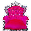 Vintage Style Hot Pink Throne Armchair