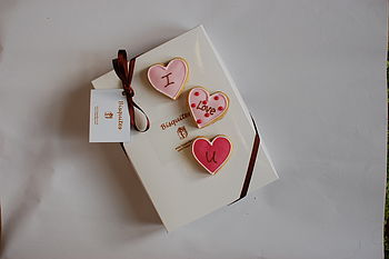 Set Of Three Heart I Love You Biscuits