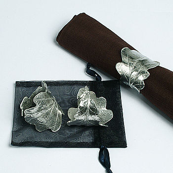 Pair Of Pewter Oak Leaf Napkin Rings