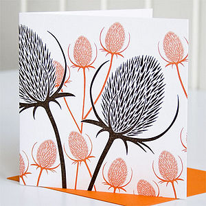 Teasels Letterpress Greeting Card
