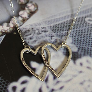 Personalised Twin Heart Necklace