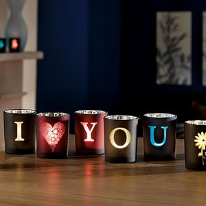 Personalised Glass Alphabet Votives - christmas lights
