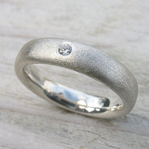 Handmade Diamond & Frosted Silver Ring - wedding jewellery