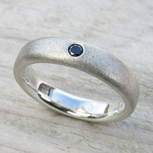 Men's Handmade Black Diamond Silver Ring