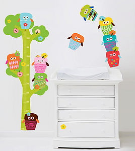 Owls Height Chart Fabric Wall Stickers - wall stickers