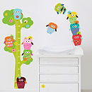 Owls Height Chart Fabric Wall Stickers