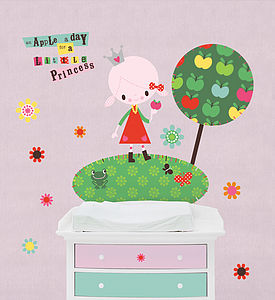 Apple A Day Fabric Wall Stickers - children's room accessories