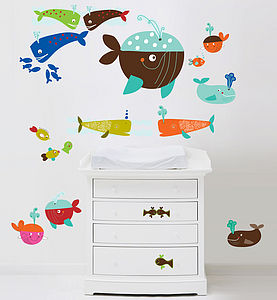 Whales Fabric Wall Stickers - painting & decorating