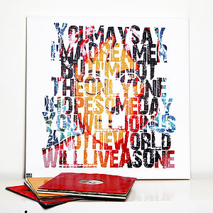 'Imagine' Typographic Art - music
