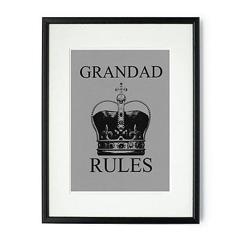Grandad Rules Framed & Signed Print