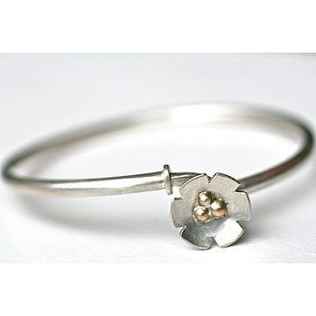 Silver Flower Hook Clasp Bangle