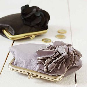 Leather Ruffle Purse - gifts for her