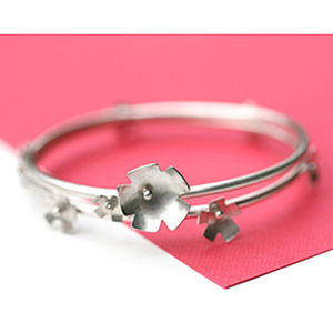 Bangle Silver Flower Stacker Handmade