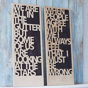 Oscar Wilde Quote Carved Art Board - pictures & paintings