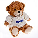 Personalised Bailey Bear with royal blue text