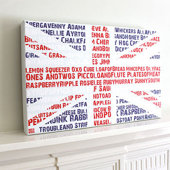 Personalised Union Jack Word Canvas