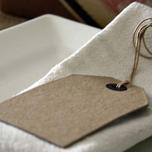 Six Large Brown Card Luggage Tags - ribbon & wrap