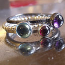 5mm Amethyst (purple), 4mm Garnet,  5mm Prasiolite (green amethyst)