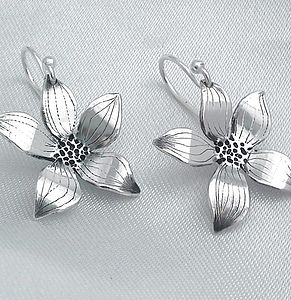 Flower Sterling Silver Drop Earrings
