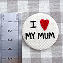 'I Love…' Embroidered Personalised Badge