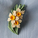 Daffodil Spray Brooch