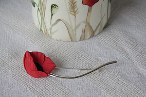 Poppy With Sterling Silver Stem Brooch - pins & brooches