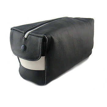 Black & White Handcrafted Leather Wash Bag