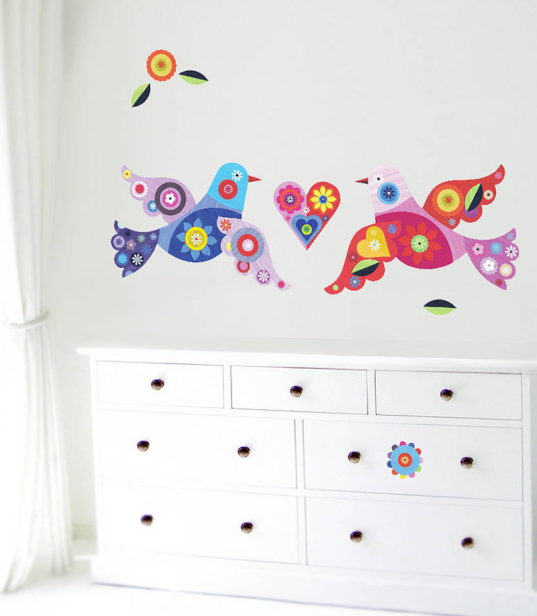 birds fabric wall stickerschocovenyl | notonthehighstreet