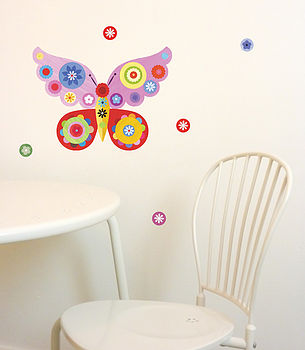 Pink Butterfly Fabric Wall Stickers