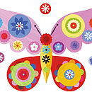 Pink Butterfly Fabric Wall Sticker