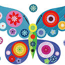 Blue Butterfly Fabric Wall Stickers Setup