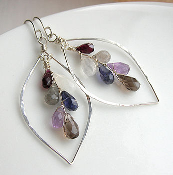 Northern Lights, Gemstone Leaf Hoop Earrings