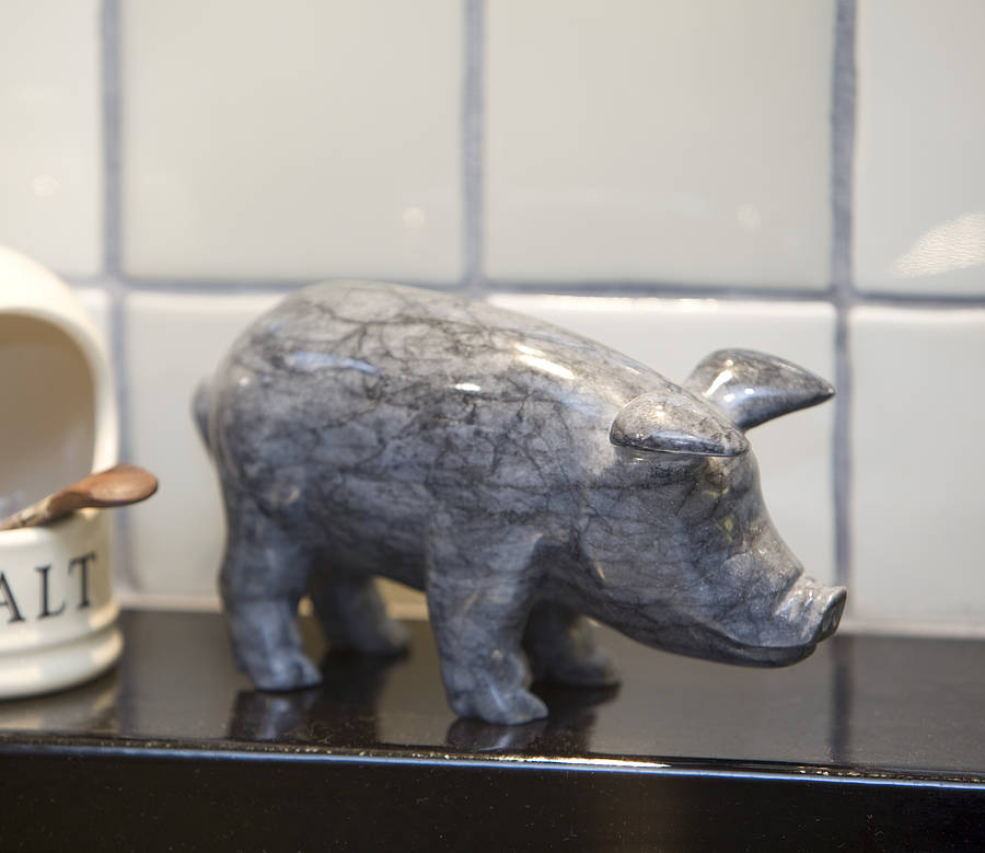 Hand Crafted Marble Pig. Dark Or Light Colour
