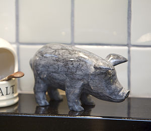 Hand Crafted Marble Pig. Dark Or Light Colour - sculptures