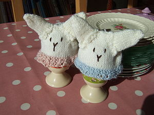Hand Knitted Bunny Egg Cosy