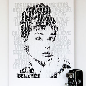 'I Believe' Audrey Hepburn Typographic Fine Art - canvas prints & art