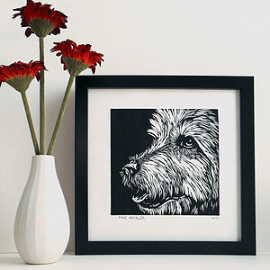 Handprinted Linocut Dog
