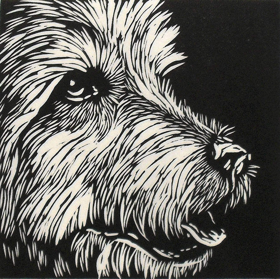 Handprinted linocut dog by cetus notonthehighstreet