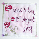 Personalised Embroidered Roses Card