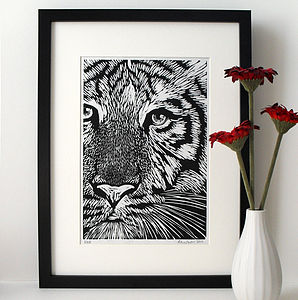 Handprinted White Tiger Linocut
