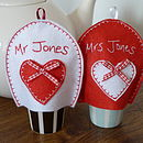 Personalised Mr And Mrs Egg Cosies