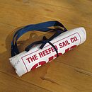 Recycled sailcloth shopper bag rolled for storage