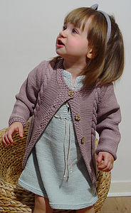 Organic Cardigan: Cabled Girls - babies' cardigans