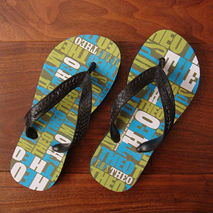 Personalised Children's My Flip Flops Green - shoes & footwear