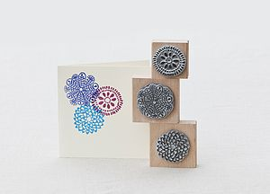 Set Of Three Flower Stamps