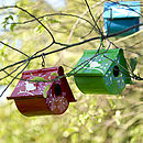 Enamel Bird House Decoration